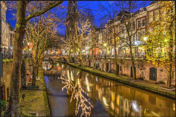 Old Canal At Night Utrecht