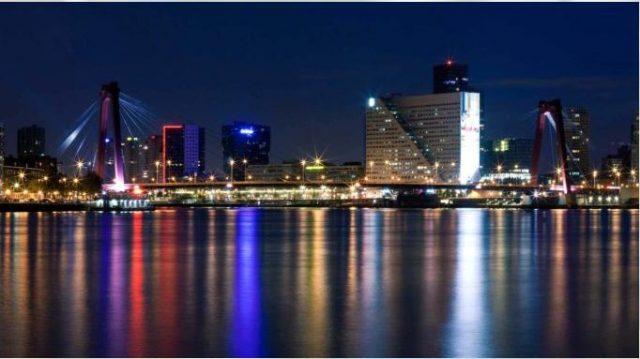 Rotterdam Port At Night